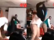 Hair Hatted Beast Gets Body Slammed In Class For Putting Her Hands On A Big Dude! (Video)