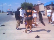 Black Females Having A Sidewalk Brawl On A Busy Street! Watch The Tumble Weave Fly! (Video)
