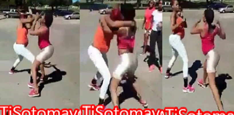 2 Pregnant Beasties Poundcake & Fight Each Other In The Middle Of The Street! (Video)
