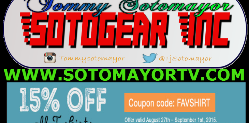 GO GET SOME MERCHANDISE NOW! 15% OF ALL T-SHIRTS WITH COUPON CODE ! #SOTOGEAR