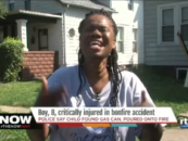 Black Chick Puts On A Show For Whites After Kid Burns Up Trying To Build A Ghetto Bonfire! (Video)