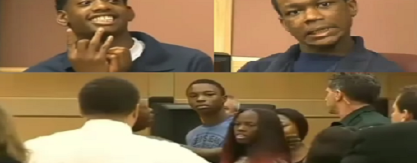 Niggly Teens Captured For Grand Theft Auto Act An AZZ To Whites With Family During Sentencing! (Video)