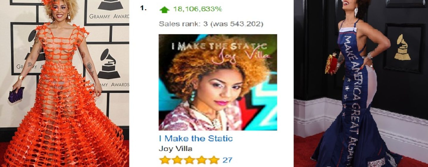 Joy Villa Wins Fans Hearts With Trump Dress At Grammys Her Album Outsells Beyonce & Lady GAGA! (Video)