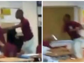 16 Year Old NigglyBear Beats Down His Teacher While Other Nigglies Record & Laugh! (Video)