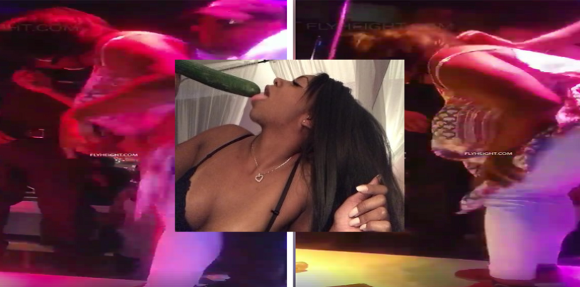 Black Queen Nearly Chokes To Death Using A Cucumber To Simulate BlowDoming At A Stripclub! (Video)